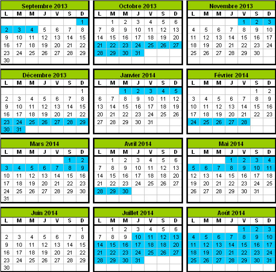 school holiday calendar for France, zone C (Paris and environs)