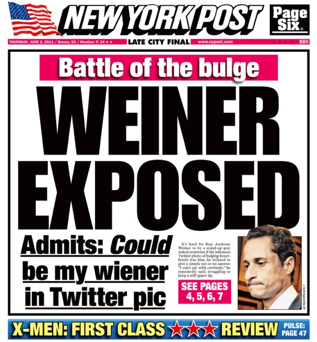 'Weiner exposed' - Rep Anthony Weiner story leads the New York Post on Thursday June 2nd 2011