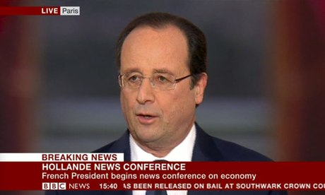Francois Hollande at his press conference.