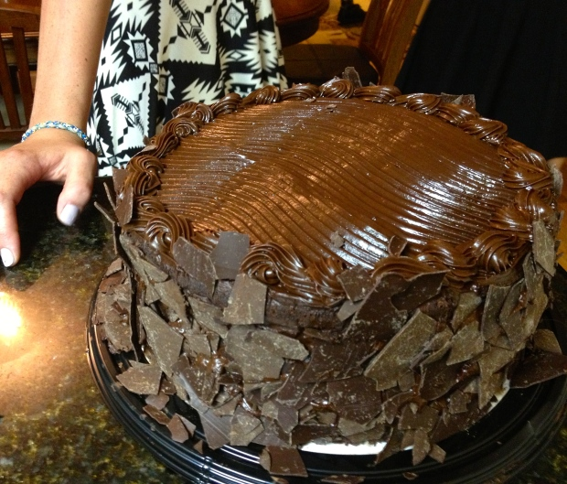 ….a massive 7-lb American chocolate cake from COSTCO...