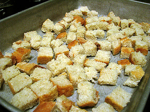 bread cubes sautéd in lots of butter