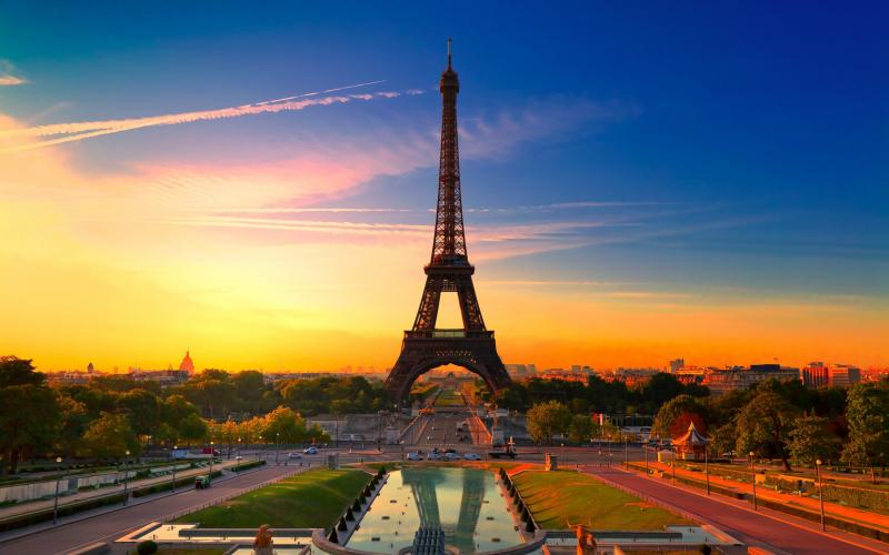 3d-abstract_widewallpaper_paris-at-sunset_39367