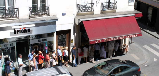…lining up for a baguette...